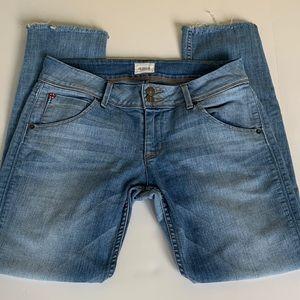 Hudson Collin Skinny Flap Fringed Ankle Jeans. 29